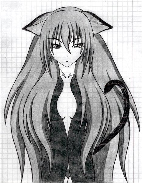 картинки нарисованные карандашом аниме девушки